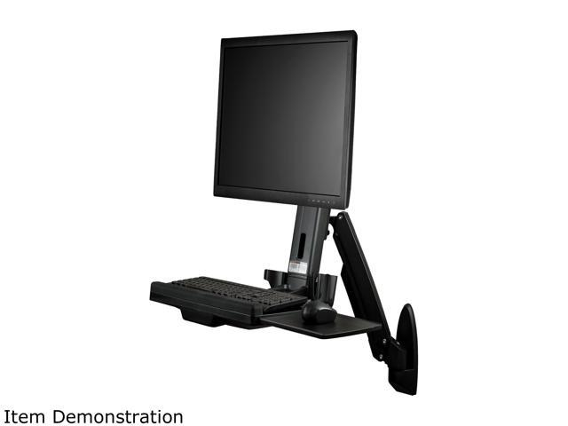 Startech Wallsts1 Wall Mounted Sit Stand Desk Single Monitor Adjule Standing Converter