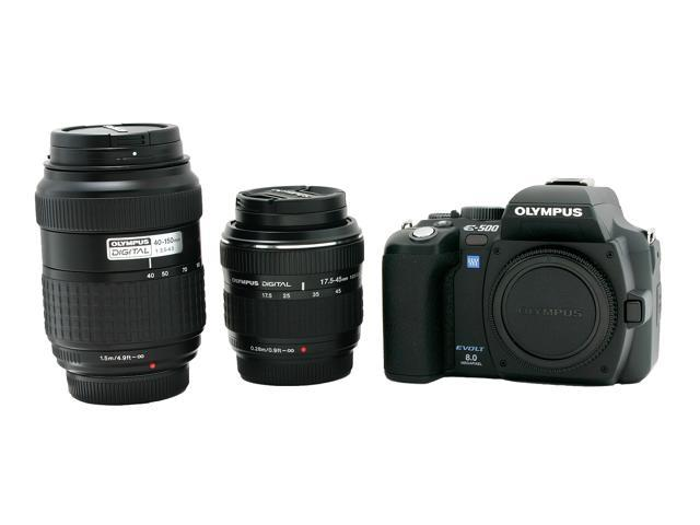 "OLYMPUS EVOLT E-500 Black 8.15 MP 2.5"" 215K LCD Digital SLR Camera w/ ZUIKO DIGITAL 17.5-45mm f.3.5-5.6 & 40-150mm f/3.5-4.5 Dua"