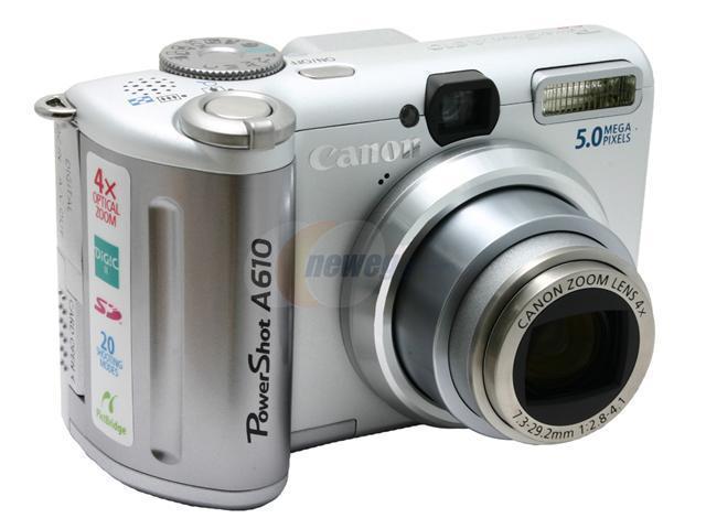 Canon A610 Silver 5 0 MP 4X Optical Zoom Digital Camera - Newegg com