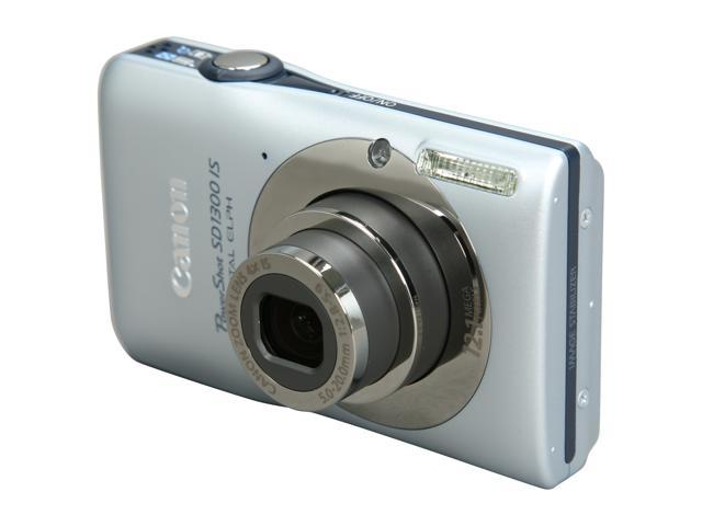 Canon PowerShot SD1300 IS Silver 12.1 MP 4X Optical Zoom 28mm Wide Angle Digital Camera