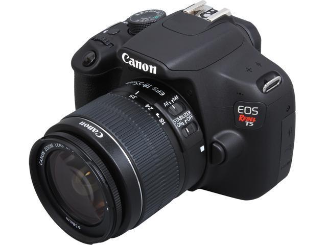 604cbba44 Canon Rebel T5 9126B003 Black Digital SLR Camera w/ EF-S 18-55mm IS II Lens  - Newegg.com