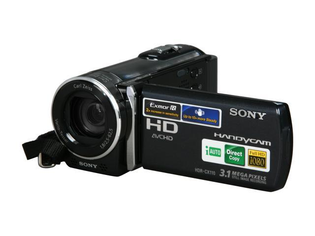 sony hdr cx110 black 1 4 exmor r cmos 2 7 230k lcd 25x optical rh newegg com