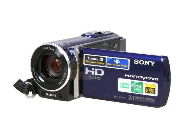 sony hdr cx110 blue 1 4 exmor r cmos 2 7 230k lcd 25x optical rh newegg com Sony User Manual Guide Sony Wireless Headphones Manual