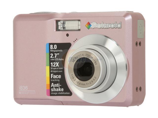 polaroid i836 pink 8 0 mp 3x optical zoom digital camera newegg com rh newegg com  polaroid ie826 manual