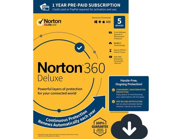 NEW Norton 360 Deluxe - Antivirus software for 5 Devices - Includes VPN, PC  Cloud Backup & Dark Web Monitoring powered by LifeLock [Download] - 2020