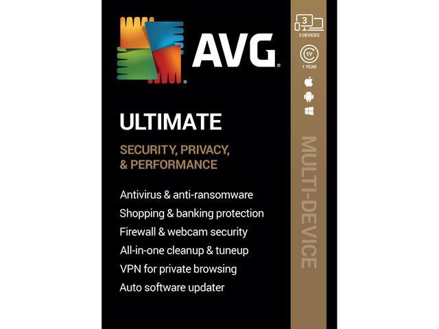 AVG Ultimate [Security, Privacy and Performance] 2020, 3 Devices 1 Year [Key Card]