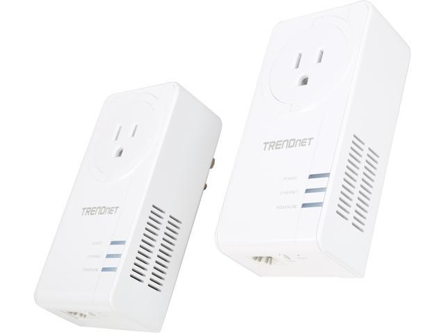 Trendnet Av2 1200 Powerline Adapter Kit With Built In Outlet