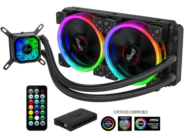 Rosewill RGB AIO 240mm CPU Liquid Cooler,  Closed Loop PC Water Cooling, Quiet Addressable RGB Ring Fans, Intel/AMD Compatible, 400mm Sleeved Tubing - PB240-RGB