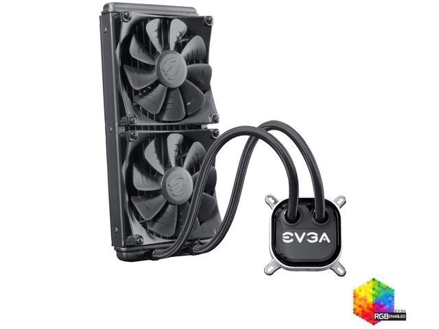 EVGA CLC 240mm All-In-One RGB LED CPU Liquid Cooler, 2x FX12 120mm PWM Fans, Intel, AMD, 400-HY-CL24-V1