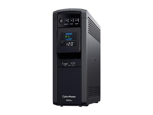 CyberPower CP1500PFCLCD - PFC Sinewave UPS Systems - Pure Sine Wave / 100% Active PFC Compatible with USB Charging Ports