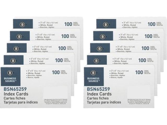 Business Source 65259BX Ruled White Index Cards 3 00