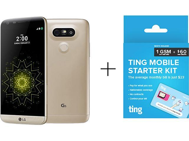 LG G5 H820 Gold Cell Phone + TING 60$ SIM Card - Newegg com