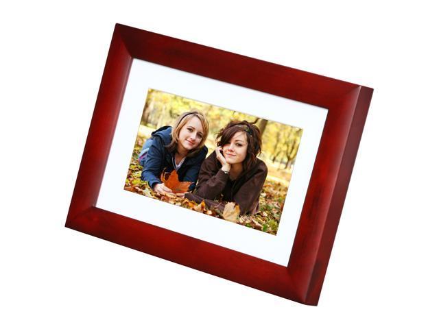 Viewsonic Vfa724w 10 7 Cherry Wood 480x234 Digital Photo Frame