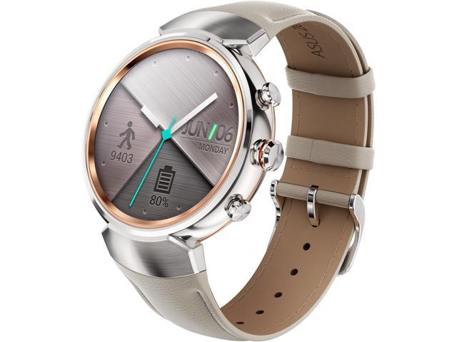 4d1921421 ASUS ZenWatch 3 Android Wear Smartwatch with Quick Charge & Silver Case, Beige  Leather Strap