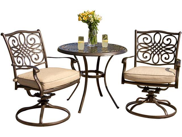 Awesome Hanover Traditions3Pcsw Traditions 3 Piece Outdoor Bistro Set With Two Swivel Rocker Chairs And 32 Round Table Newegg Com Gmtry Best Dining Table And Chair Ideas Images Gmtryco