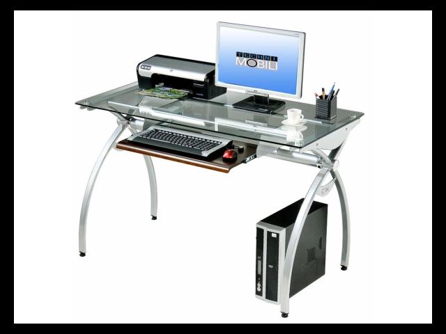 Techni Mobili RTA 00397B GLS Glass Top Computer Desk   Clear