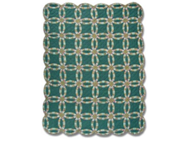 Patch Magic Qtgdwr Green Double Wedding Ring Quilt Twin 65 X 85 In Newegg Com