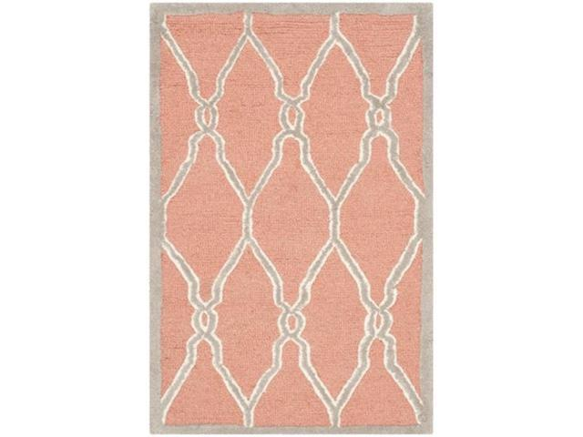 Safavieh CAM352W-2 Cambridge Hand Tufted Accent Rug, Coral - Ivory, 2 x