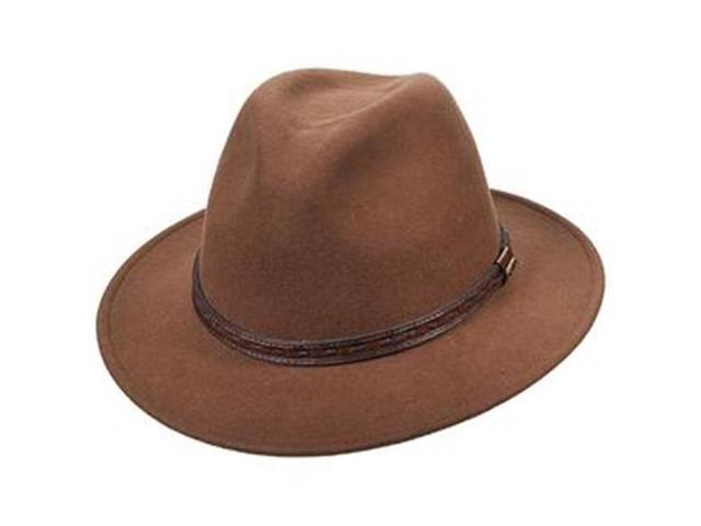 Dorfman Pacific DF47-PECAN4 Mens Scala Classico Crushable Felt Safari With  Leather Hat 6346f496b45