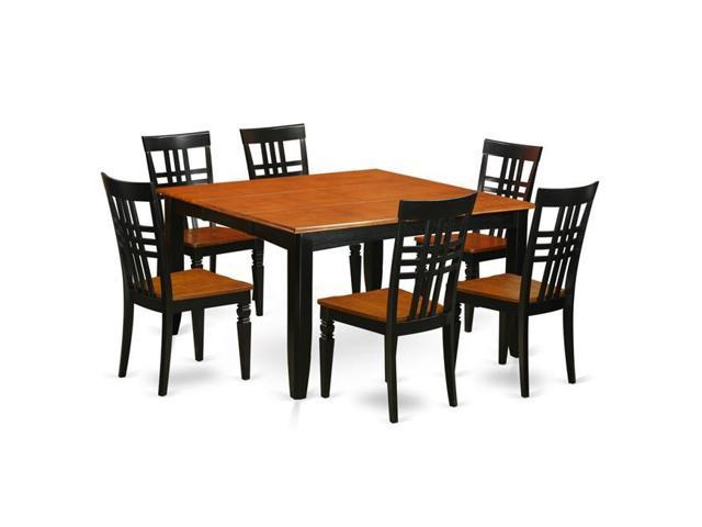 East West Furniture PFLG7-BCH-W Kitchen Table Set with One Parfait Table &  Six Chairs, Black & Cherry - 7 Piece