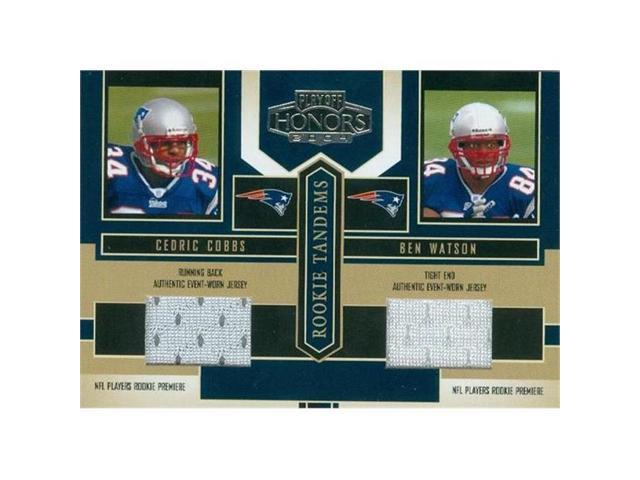 detailed look a9b6f fa7eb Autograph Warehouse 344947 Ben Watson & Cedric Cobbs Player Worn Jersey  Patch Football Card - New England Patriots 2004 Donruss Honors Rookie  Tandems ...