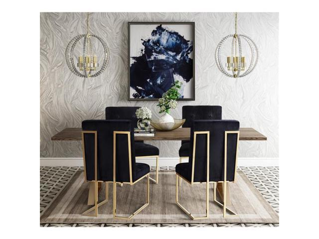 Tov Furniture Tov D2052 Akiko Black Velvet Chair Set Of 2