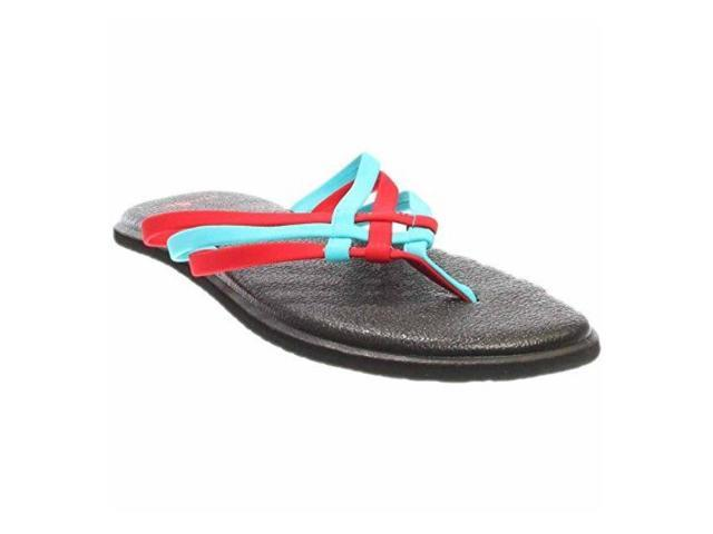 309a673cadc586 Sanuk Womens Yoga Salty Criss Cross Flip Flop Sandal - Aqua Bright Red -  Size