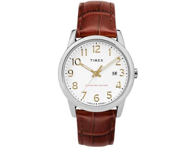 bf54c1eb9305 Timex TW2R65000JT Mens Easy Reader Signature -Tone Leather Strap Watch
