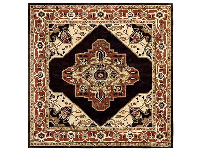 Due Process Le Trading Tufted Serapi Open Field Brown Brick Square Area Rug 8 X Ft