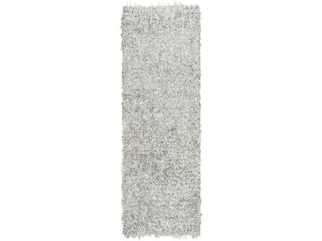 Safavieh LSG601C-28 Leather Shag Runner Rug, Grey & White