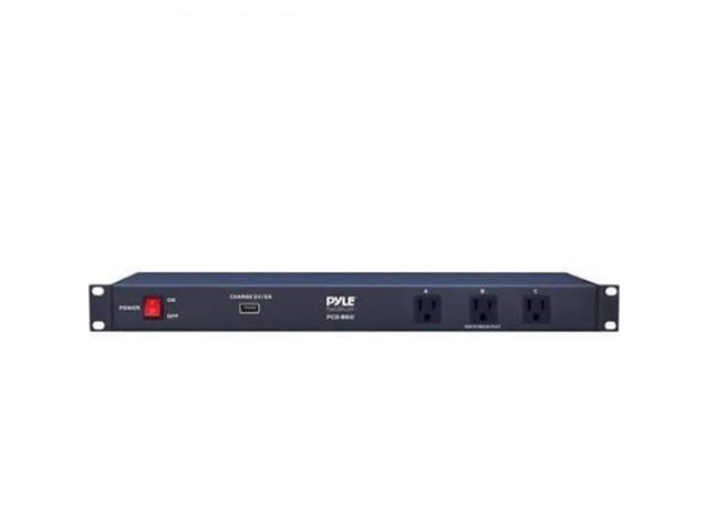 pyle pco860 rack mount power conditioner strip with usb charge port power supply surge protector. Black Bedroom Furniture Sets. Home Design Ideas