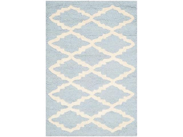 Safavieh CAM137A-2 Cambridge Accent Hand Tufted Rug, Light Blue & Ivory - 2