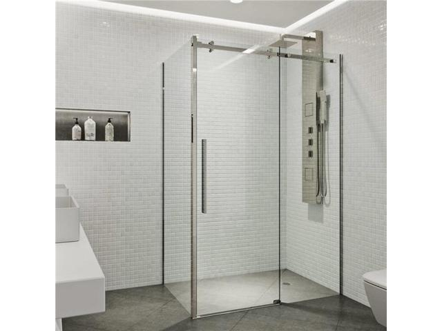 VIGO VG6052STCL3248 Alameda 32 X 48 Frameless Sliding Door Shower Enclosure  In Stainless Steel