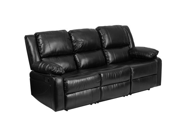 Harmony Series Black Leather Sofa With Two Built In Recliners