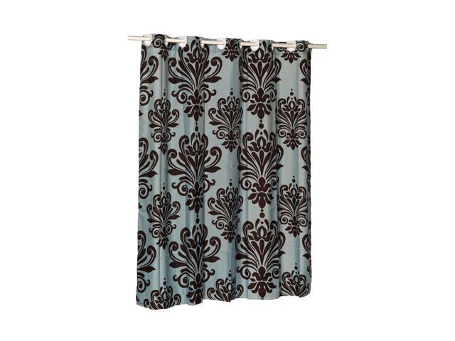 Carnation Home Fashions EZ ON Beacon Hill Polyester Shower Curtain In Chocolate On Spa Blue