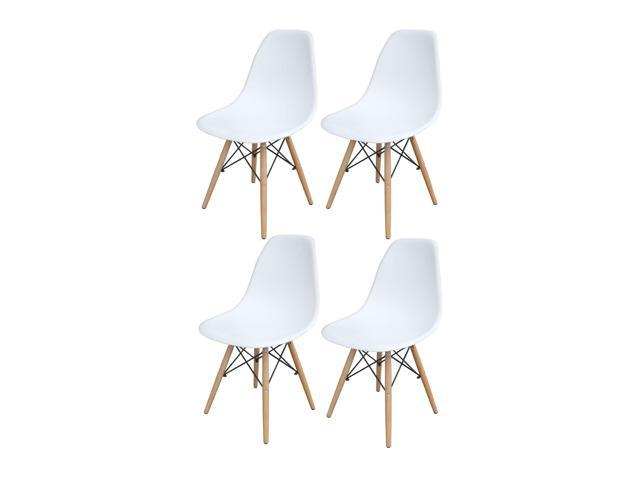 Wondrous Amerihome White Wooden Leg Accent Chairs 4 Piece Set Newegg Com Ibusinesslaw Wood Chair Design Ideas Ibusinesslaworg