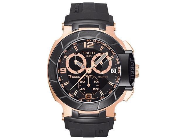 cc969d2de180 Tissot T-Race Chronograph Rose Gold-tone Black Rubber Mens Watch  T0484172705706