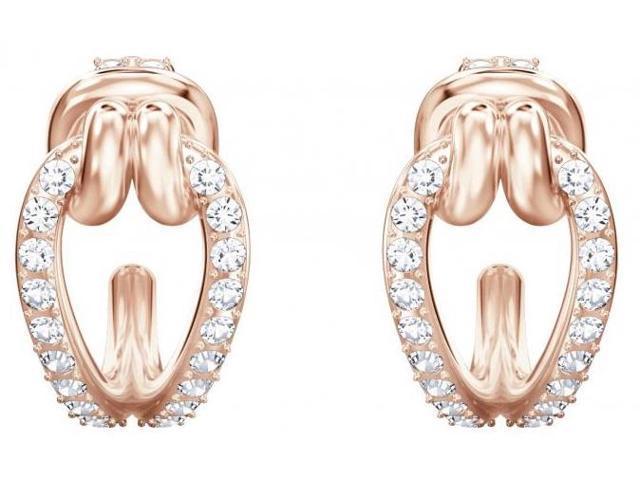 052701303 Swarovski Lifelong Hoop Pierced Earrings - Small - White - Rose Gold  Plating - 5392920