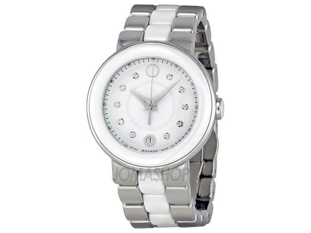 f4d49618f Movado Cerena Steel and White Ceramic Ladies Watch 0606540 ...