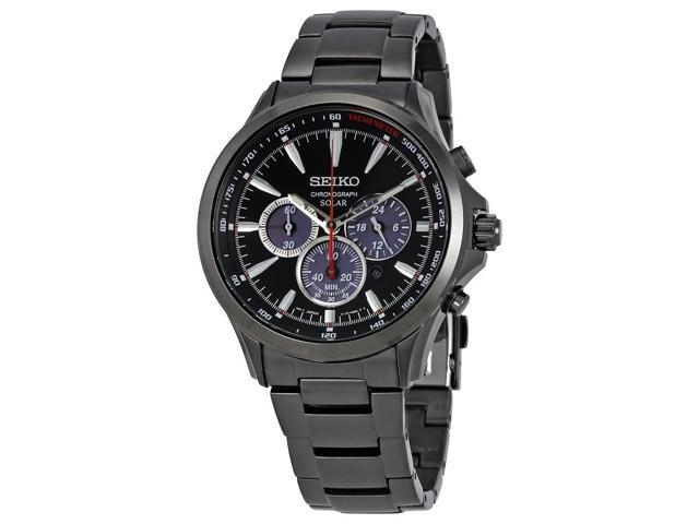 Seiko Solar Chronograph Black Dial Stainless Steel Mens Watch SSC497 -  Newegg com