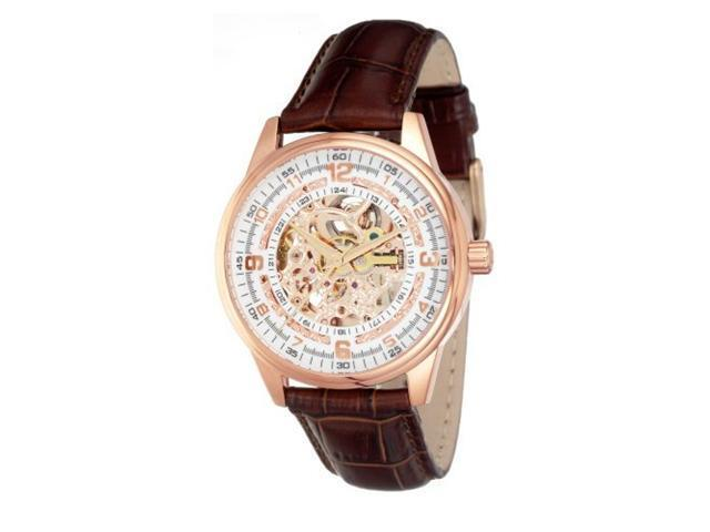 2e62f66645d Akribos XXIV Men s AK410RG  Saturnos  Skeleton Automatic Gold Round Brown  Watch