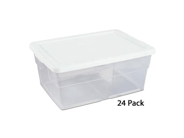 Sterilite 16 Quart Clear Stacking Storage Container Tub, 24 Pack