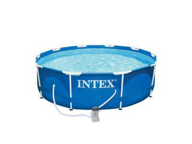 Intex 10 x 2.5 Foot Metal Frame Above Ground Swimming Pool Set ...