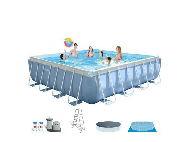 Intex 16-Foot x 48-Inch Prism Frame Square Swimming Pool Set ...