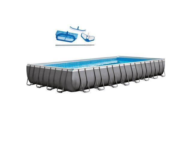 Intex 32 x 16 x 4.3 Foot Ultra Frame Pool Set with Cleaning Kit ...