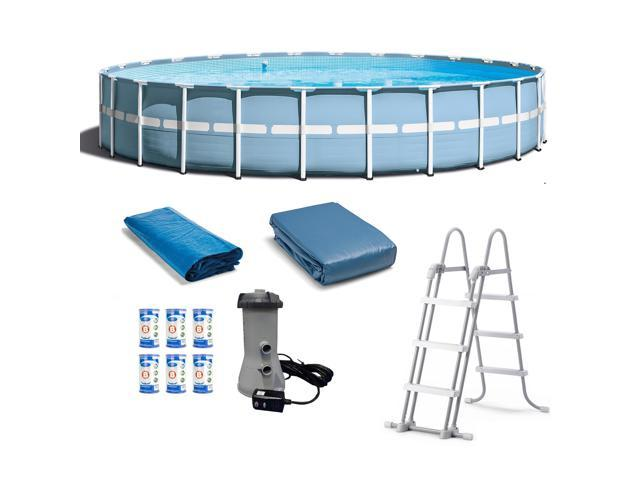 Intex 24 Feet x 52 Inches Prism Frame Pool Set with Filter Cartridge ...