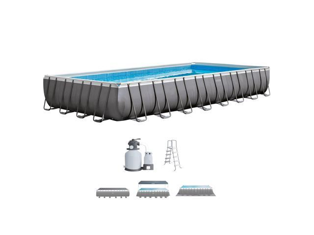 Intex 32 x 16 x 4.3 Foot Ultra Frame Rectangular Swimming Pool Set ...