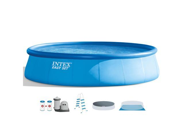 Intex 18 Foot x 48 Inch Inflatable Easy Set Round Above Ground ...