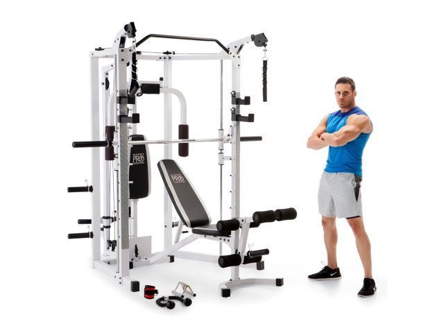 Marcy 5276 Combo Smith Heavy-Duty Total Body Strength Home Gym Machine,  White - Newegg com