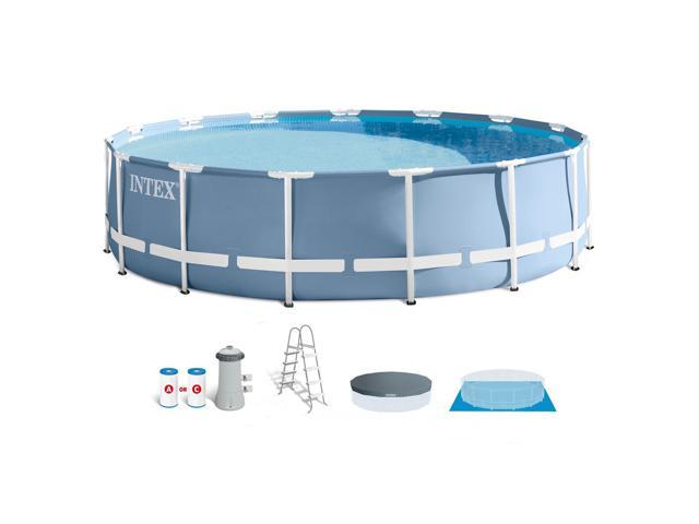 Intex 15 Feet x 42 Inches Prism Frame Above Ground Swimming Pool ...